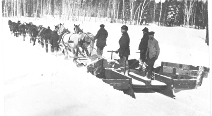 1920's Ryde plowing snow with horses