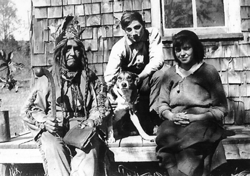 Chief Bigwin & Michell and Eliza Loshaw (Brooks) Lewisham about 1935