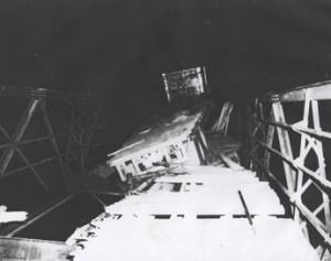 September 1958 - Housey's Rapids Bridge Crumbles under Tractor Trailer