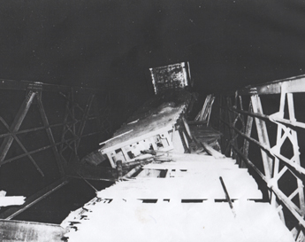 September 1958 - Housey's Rapids Bridge Crumbles under Tractor Trailer