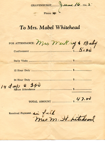 Nursing Home receipt, 1945